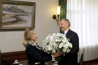 Hillary Clinton and Andris Berzins. Riga, 28.06.2012. Photo: president.lv