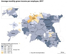In 2017, the monthly gross income per employee was 1,155 euros in Estonia