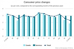 During the year, the average level of consumer prices increased by 2.3%