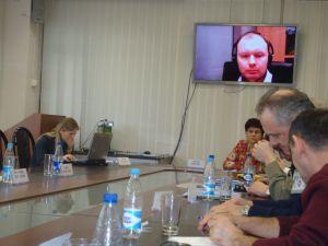 На экране Арунас Молис. БФУ, Калининград. 16.03.2012.